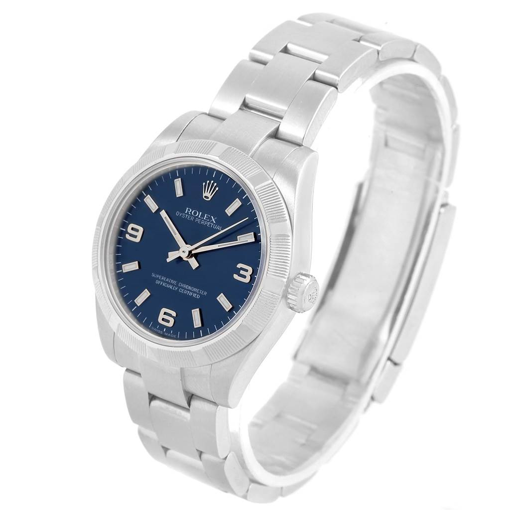Rolex Oyster Perpetual Midsize 31 Blue Dial Steel Ladies Watch 177210 SwissWatchExpo