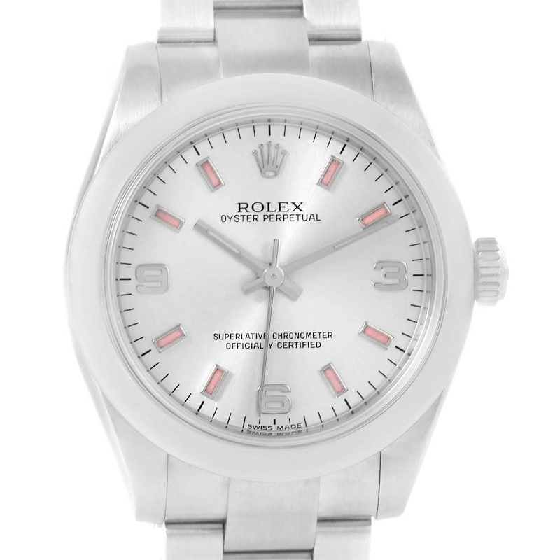 Rolex Midsize 31 Silver Dial Pink Hour Markers Steel Ladies Watch 177200 SwissWatchExpo
