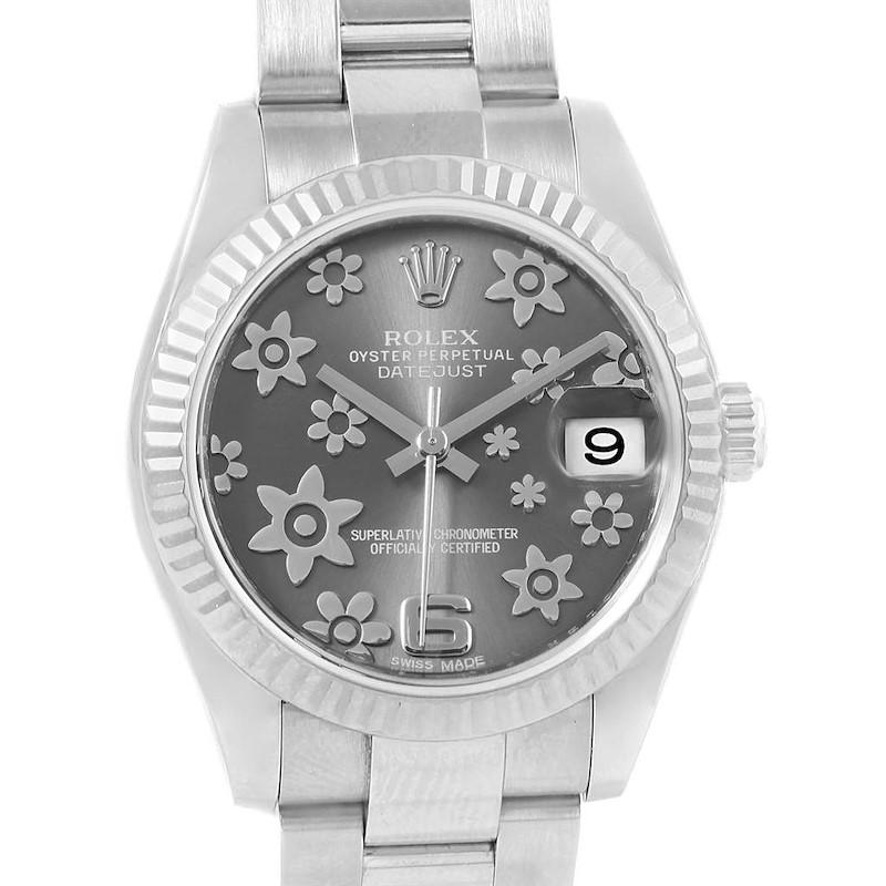 Rolex Datejust Midsize 31mm Steel White Gold Floral Ladies Watch 178274 SwissWatchExpo