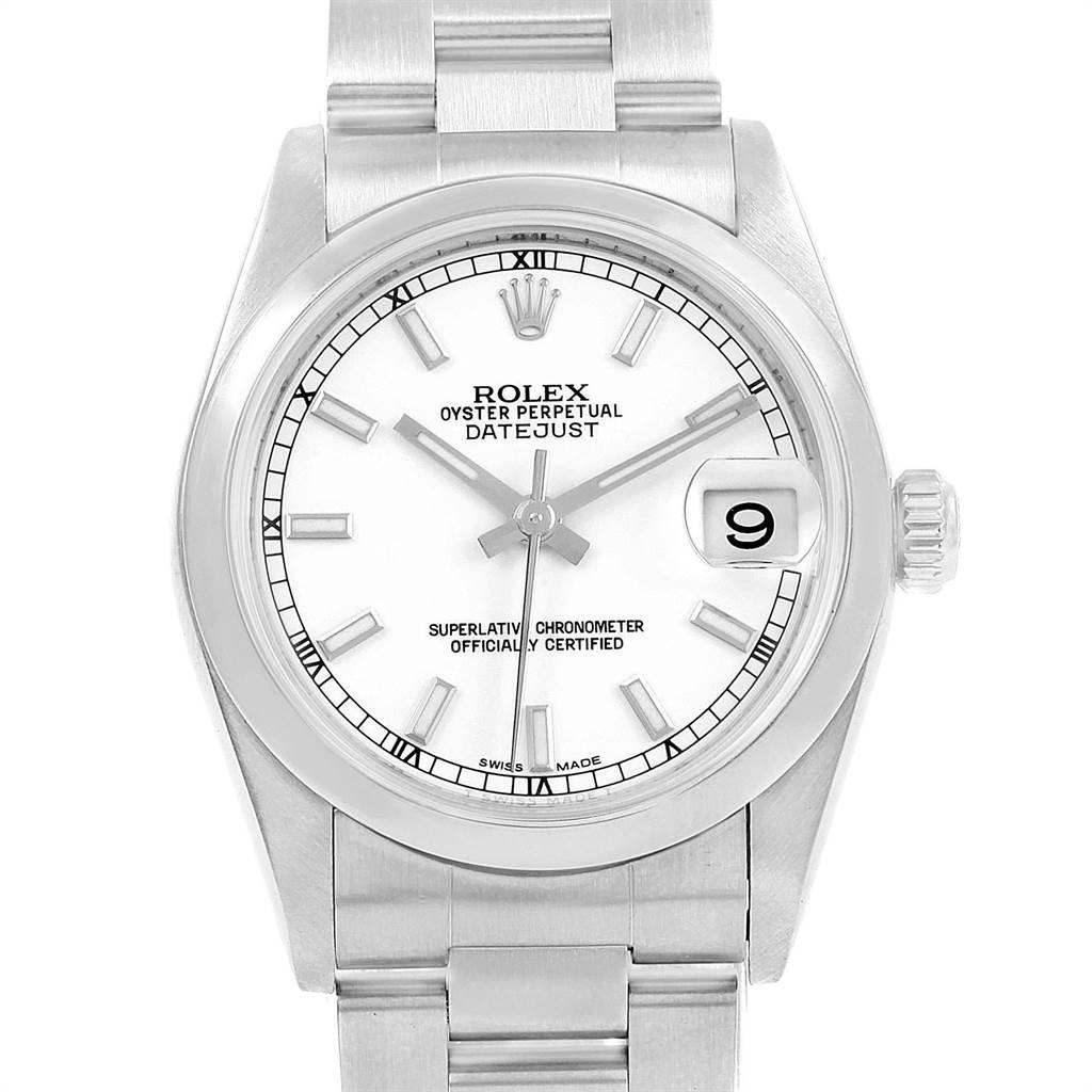 Rolex Midsize Datejust White Dial Stainless Steel Ladies Watch 178240 SwissWatchExpo