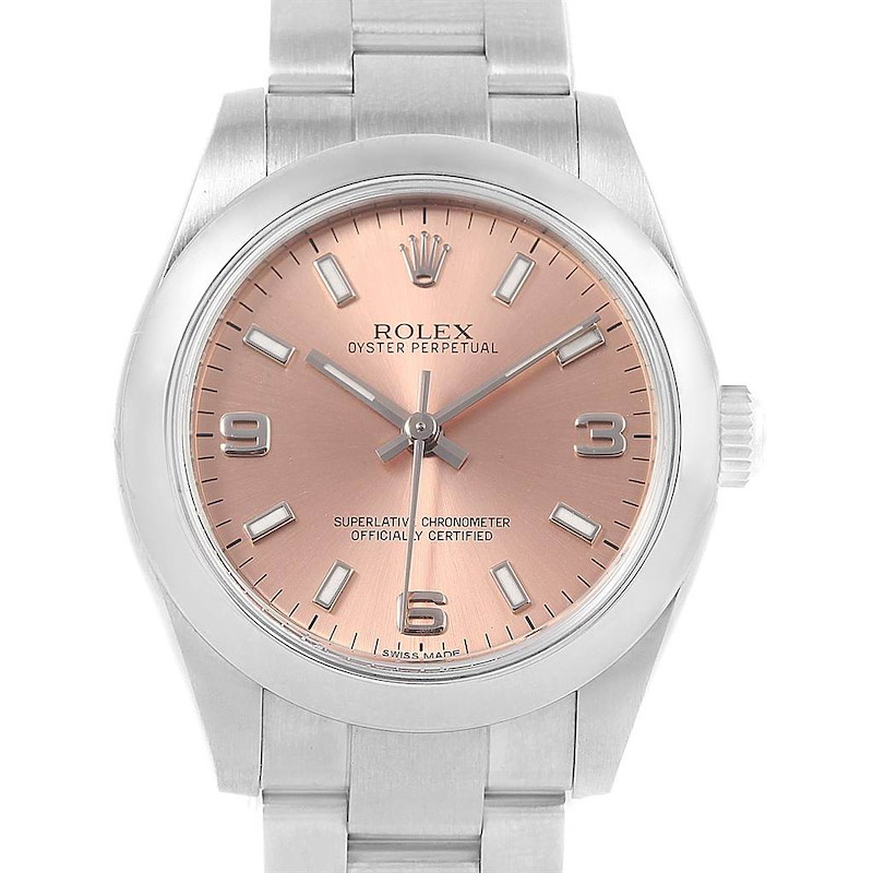 Rolex Midsize 31 Salmon Dial Steel Ladies Watch 177200 Unworn SwissWatchExpo