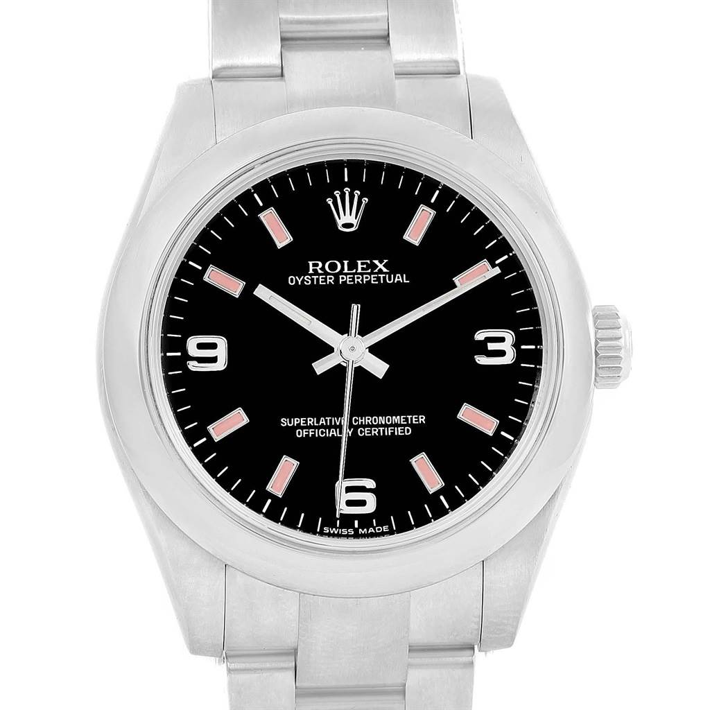 Rolex Midsize Black Dial Pink Hour Markers Ladies Watch 177200 Box Card SwissWatchExpo