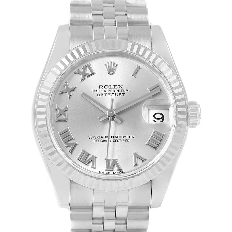 Rolex Datejust Midsize 31 Steel White Gold Silver Dial Watch 178274 SwissWatchExpo