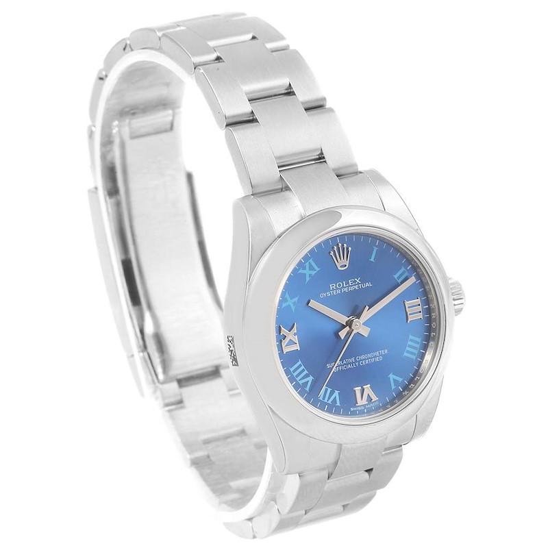 Rolex Oyster Perpetual Midsize 31 Blue Dial Ladies Watch 177200 Unworn SwissWatchExpo