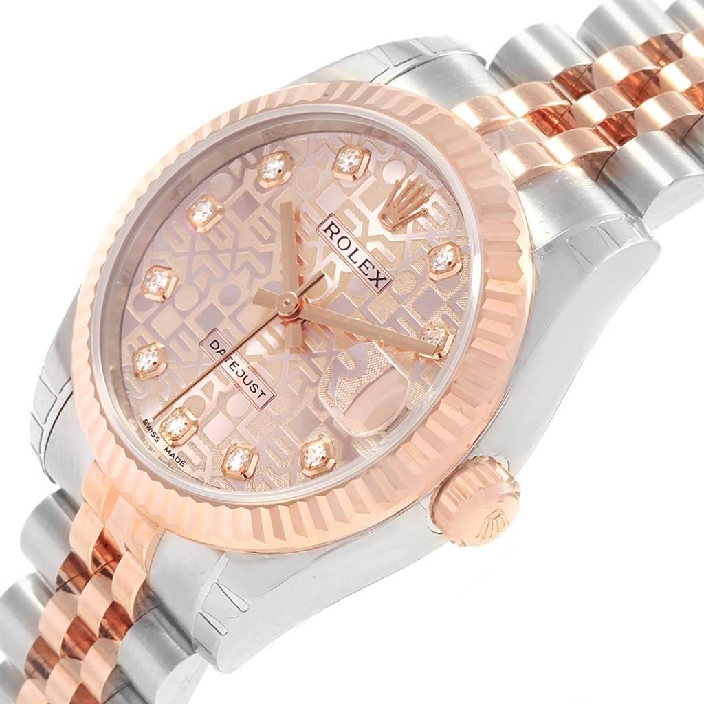 18571 Rolex Datejust Midsize Steel Rose Gold Diamond Ladies Watch 178271 Unworn SwissWatchExpo
