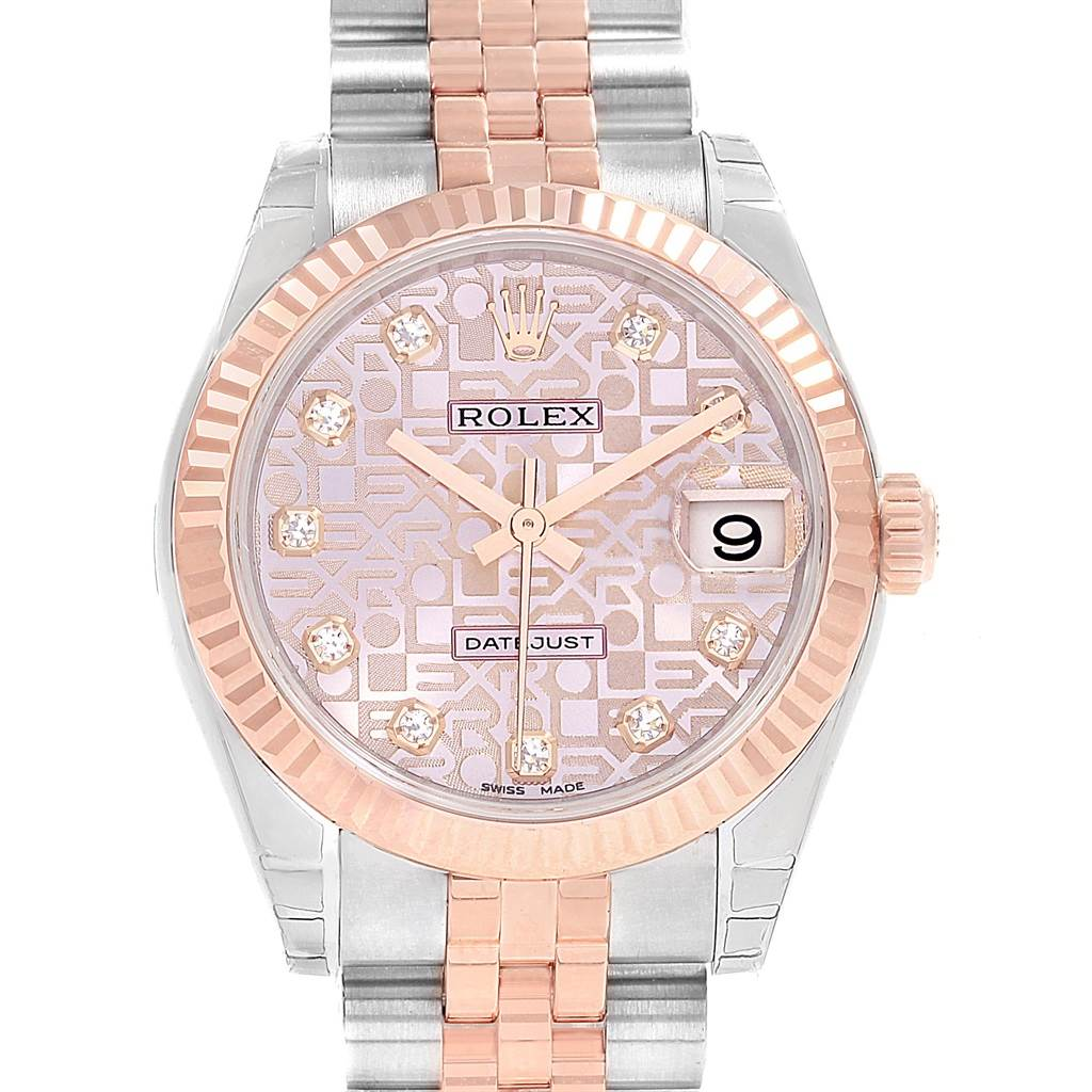 Rolex Datejust Midsize Steel Rose Gold Diamond Ladies Watch 178271 Unworn