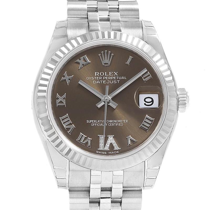 Rolex Datejust Midsize Brown Diamond Dial Ladies Watch 178274 Unworn SwissWatchExpo