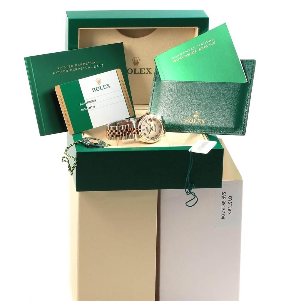 Rolex Datejust Midsize Steel Rose Gold Mother of Pearl Watch 178271 Unworn