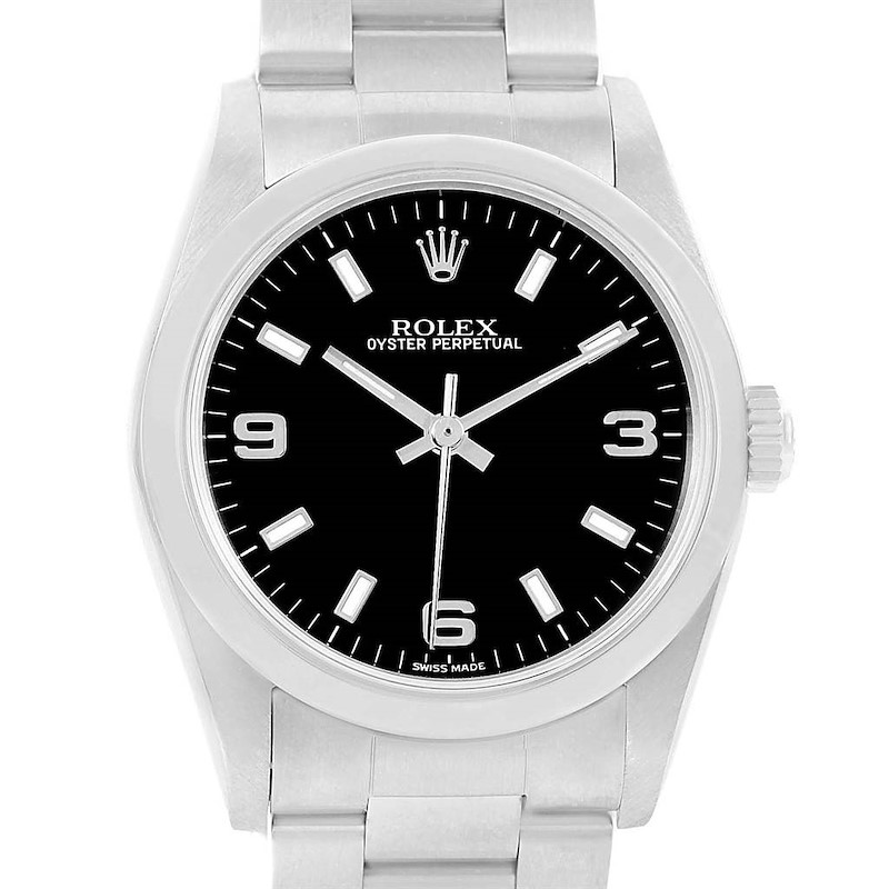 Rolex Midsize Black Dial Oyster Bracelet Steel Ladies Watch 77080 SwissWatchExpo