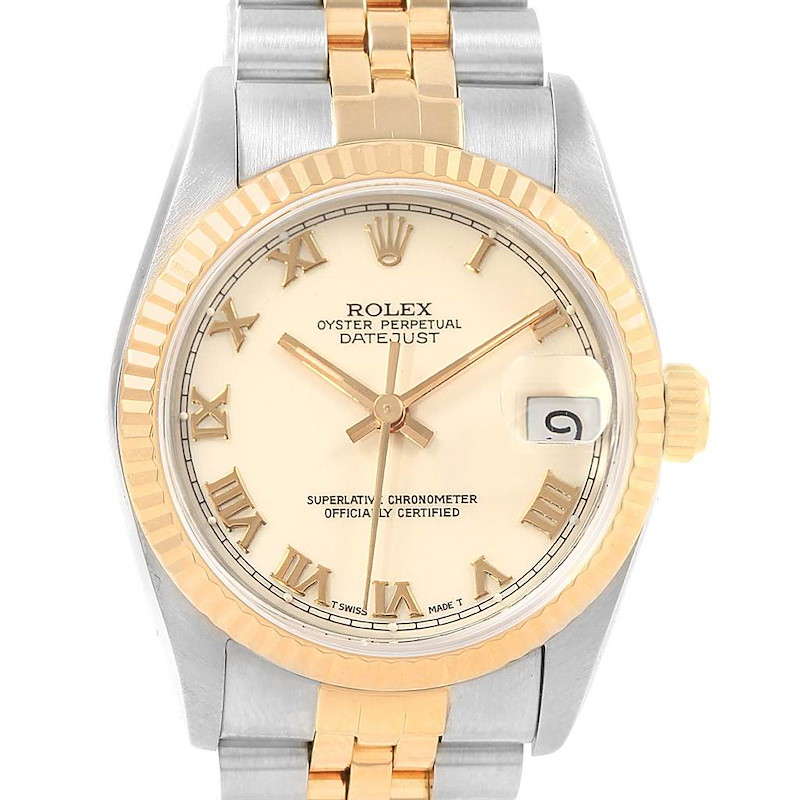 Rolex Datejust 31 Midsize Steel Yellow Gold Ivory Dial Ladies Watch 68273 SwissWatchExpo