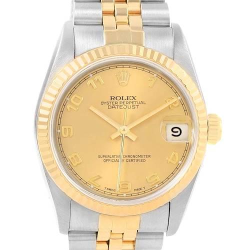 Photo of Rolex Datejust Midsize Steel Yellow Gold Fluted Bezel Ladies Watch 68273