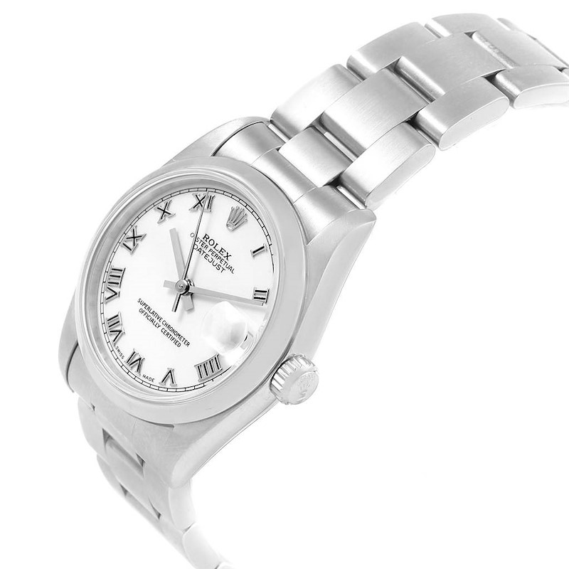 Rolex Midsize Datejust White Dial Oyster Bracelet Ladies Steel Watch 68240 SwissWatchExpo