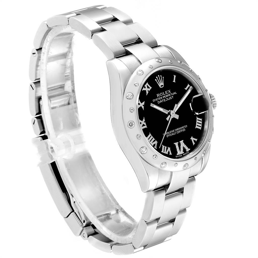 Rolex Datejust 31 Midsize Black Dial Steel Diamond Ladies Watch 178344 SwissWatchExpo