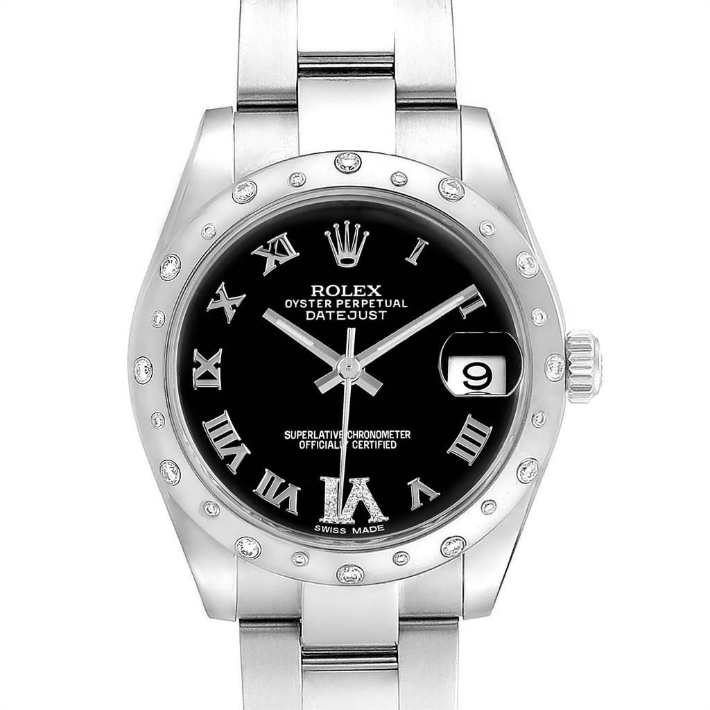 18971 Rolex Datejust 31 Midsize Black Dial Steel Diamond Ladies Watch 178344 SwissWatchExpo