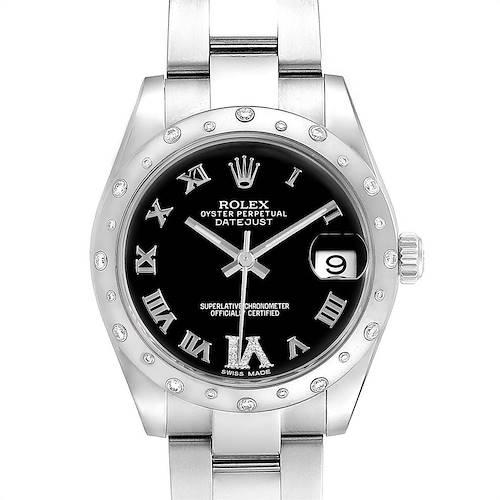 Photo of Rolex Datejust 31 Midsize Black Dial Steel Diamond Ladies Watch 178344