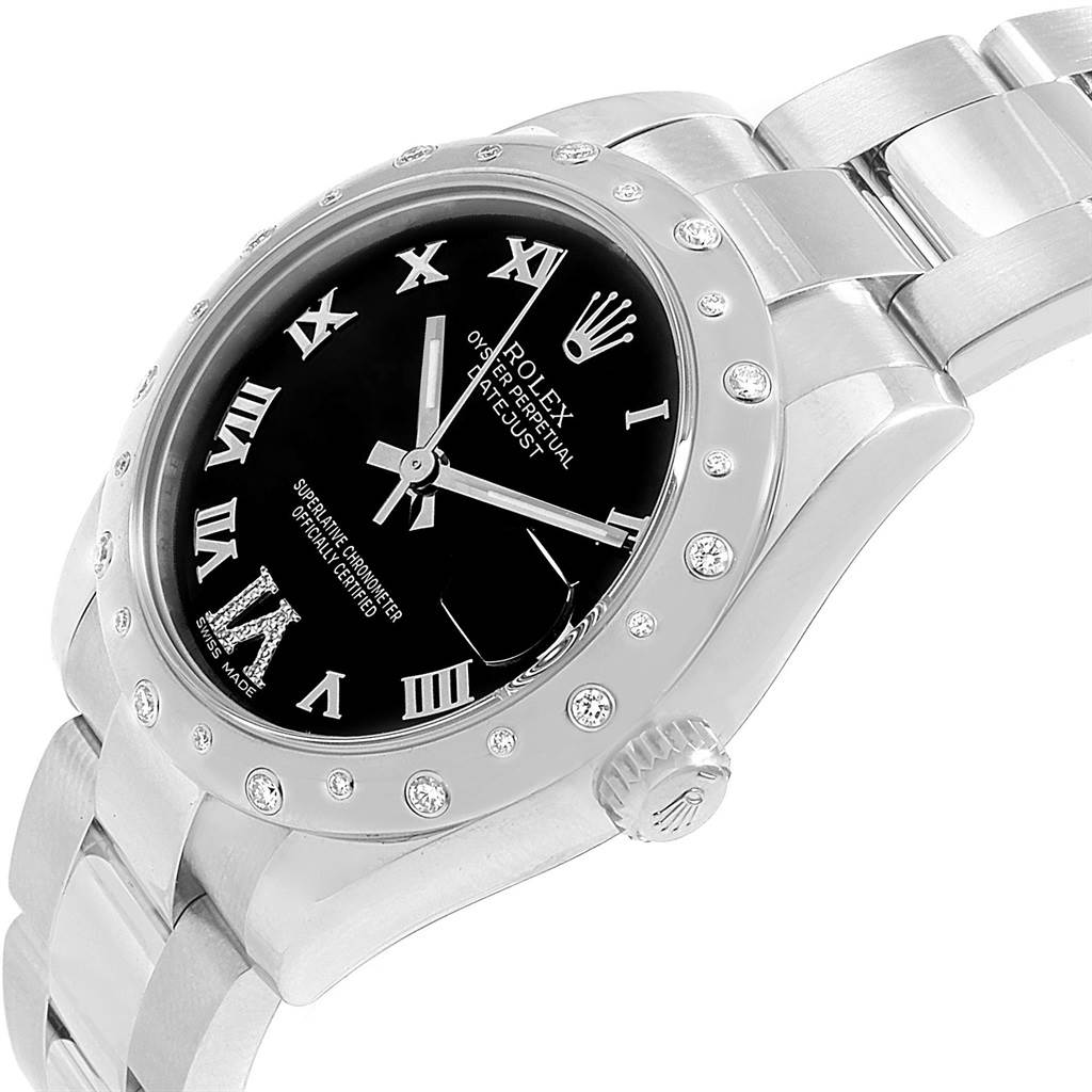 18971 Rolex Datejust 31 Midsize Black Dial Steel Diamond Watch 178344 SwissWatchExpo