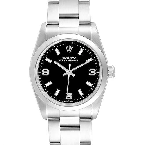 Photo of Rolex Midsize Black Dial Smooth Bezel Steel Ladies Watch 77080