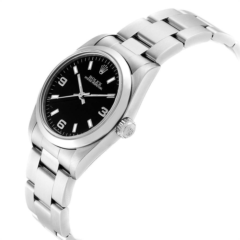 Rolex Midsize Black Dial Smooth Bezel Steel Ladies Watch 77080 SwissWatchExpo