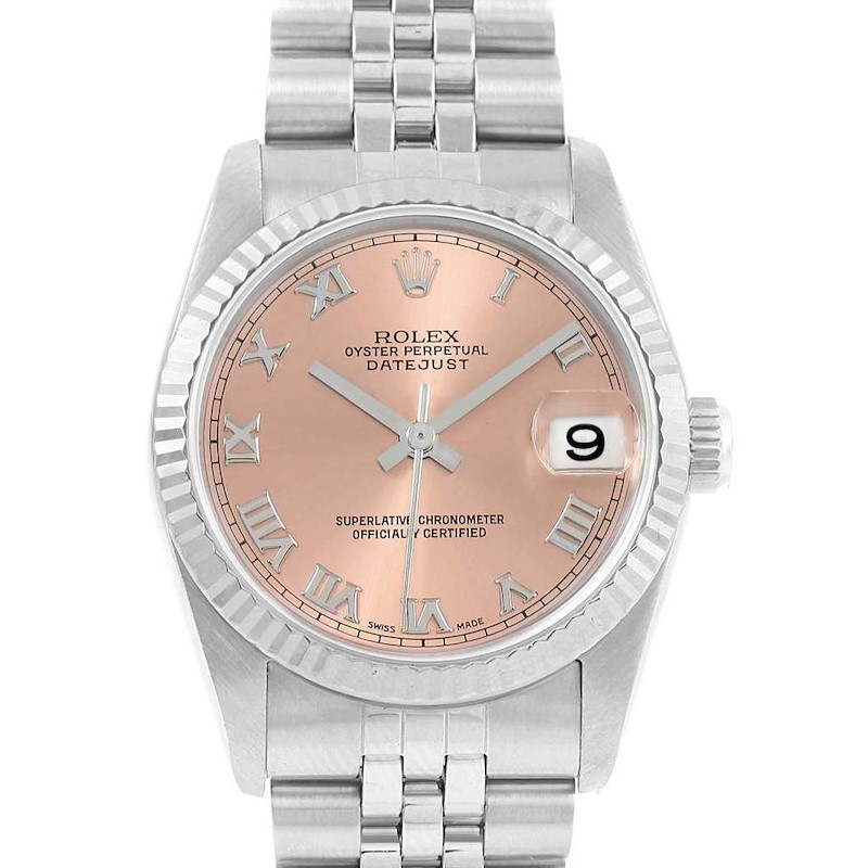 Rolex Datejust Midsize Steel White Gold Salmon Dial Ladies Watch 78274 SwissWatchExpo