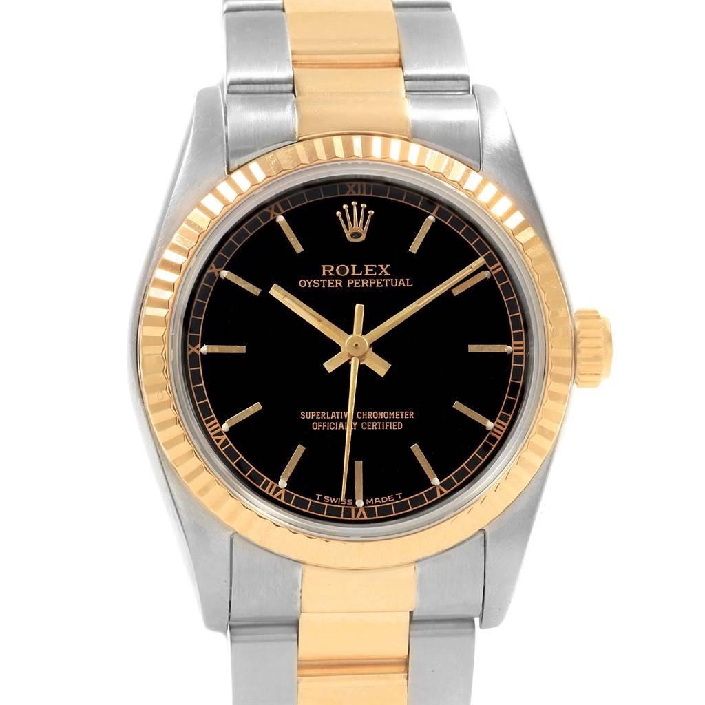 Rolex Midsize 31 Black Dial Yellow Gold Steel Ladies Watch 67513 SwissWatchExpo
