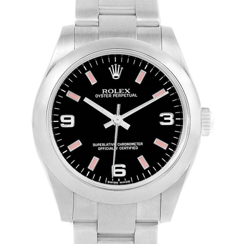 Rolex Midsize Black Dial Pink Hour Markers Ladies Watch 177200 SwissWatchExpo