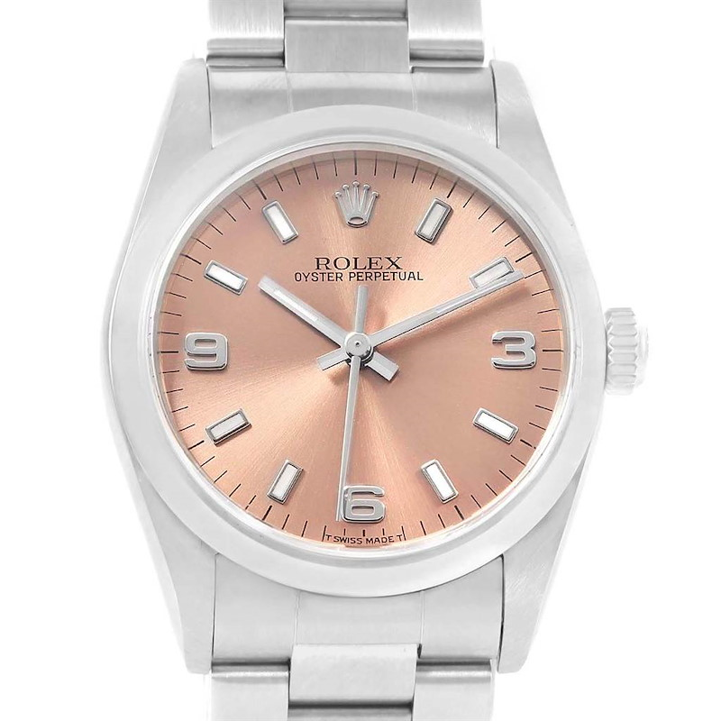 Rolex Midsize 31 Oyster Perpetual Salmon Dial Steel Ladies Watch 67480 SwissWatchExpo
