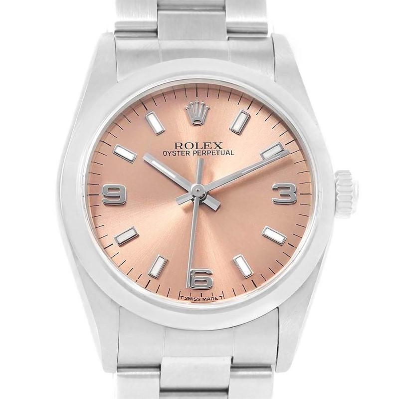 Rolex Midsize 31 Salmon Dial Oyster Bracelet Steel Ladies Watch 67480 SwissWatchExpo