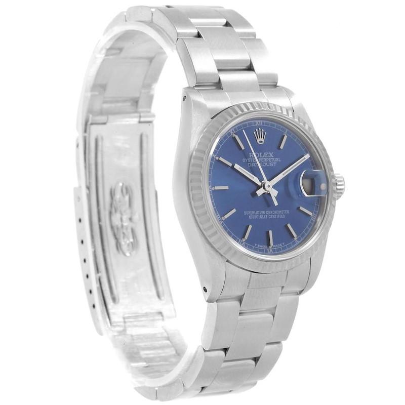 Rolex Datejust Midsize 31 Steel White Gold Blue Dial Ladies Watch 68274 SwissWatchExpo