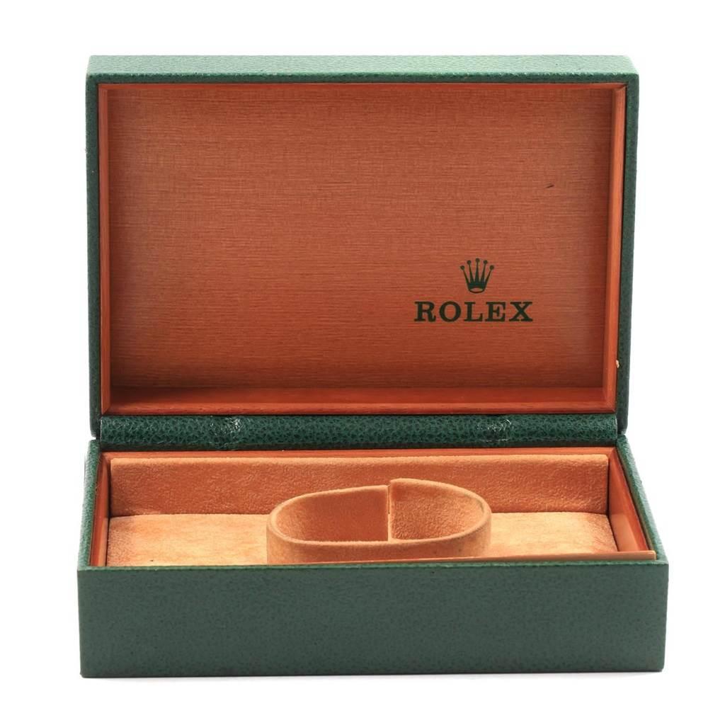 Rolex Midsize Black Dial Smooth Bezel Steel Ladies Watch 77080 SwissWatchExpo