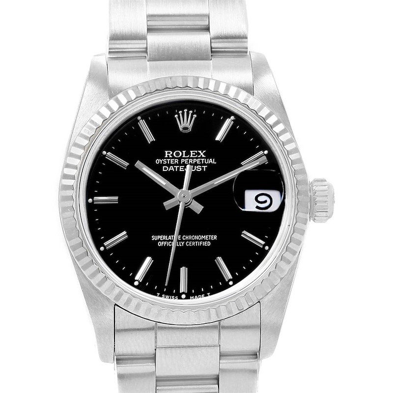 Rolex Datejust Midsize 31 Steel White Gold Black Dial Ladies Watch 68274 SwissWatchExpo