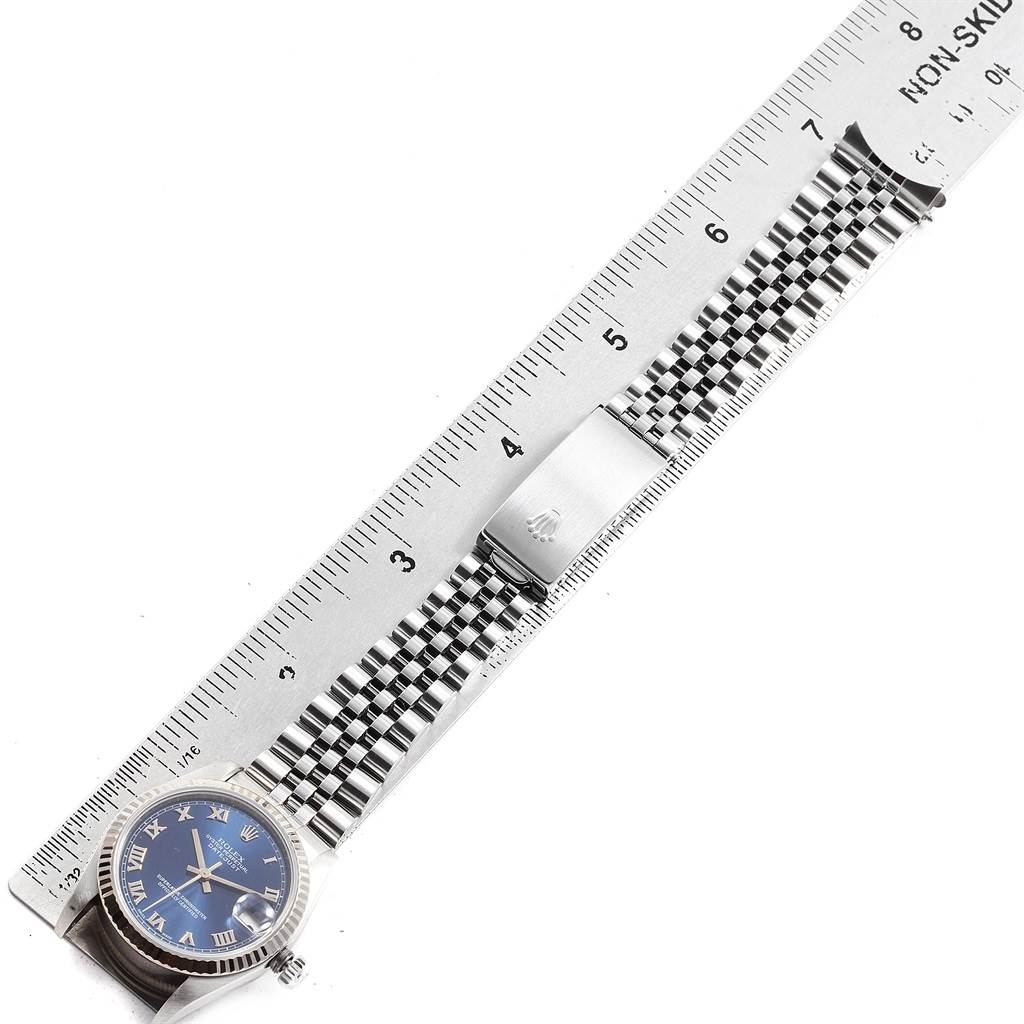 Rolex Datejust Midsize 31 Steel White Gold Blue Dial Ladies Watch 68274 SwissWatchExpo