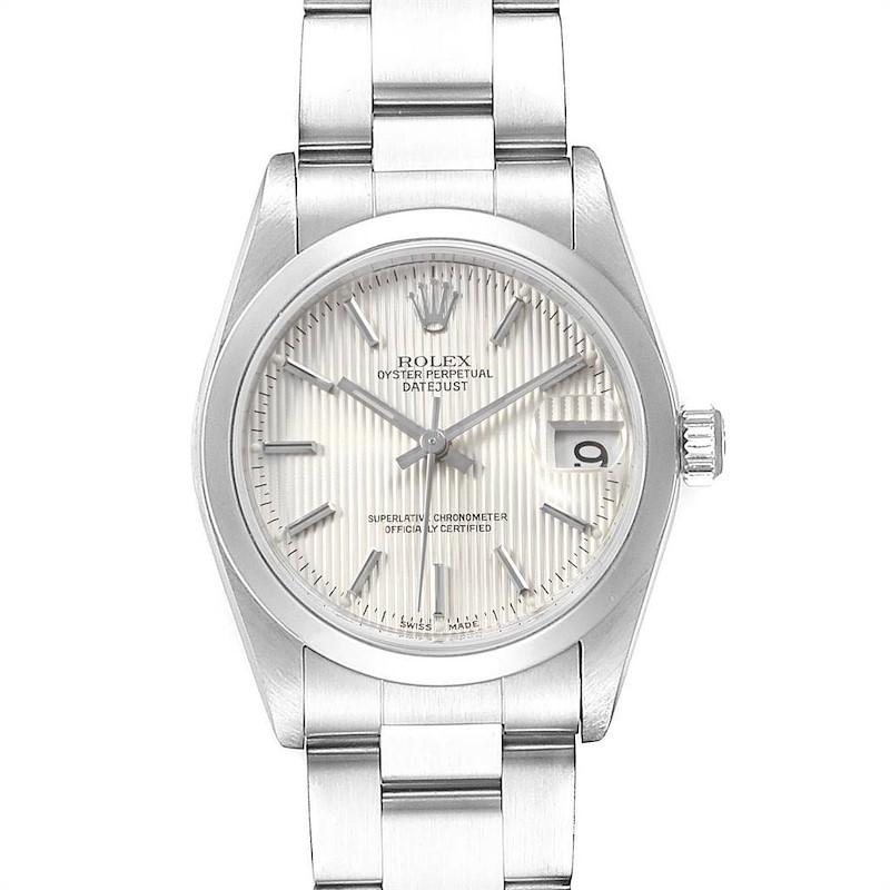 Rolex Datejust 31 Midsize Silver Tapestry Dial Steel Ladies Watch 78240 SwissWatchExpo