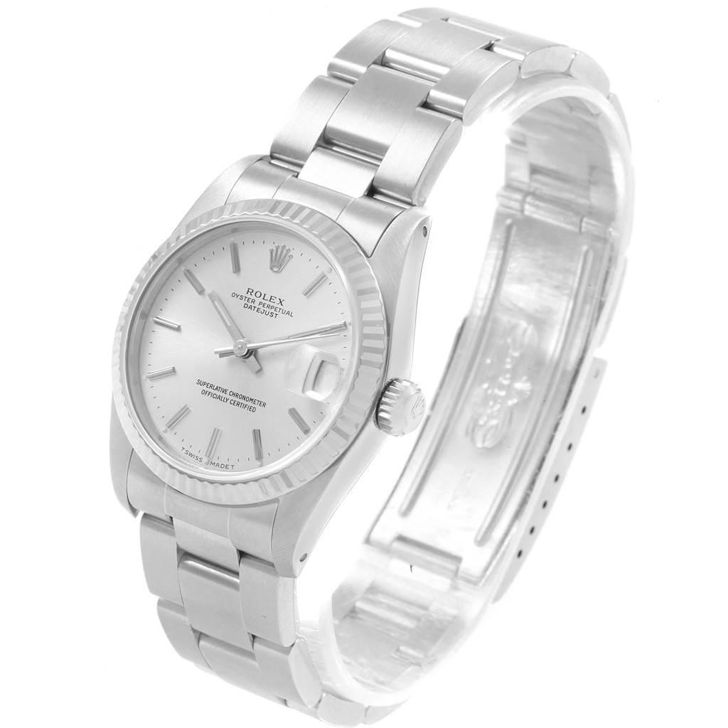 Rolex Datejust Midsize 31 Steel White Gold Silver Dial Ladies Watch 68274 SwissWatchExpo