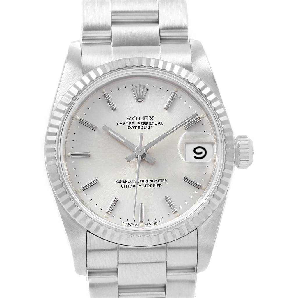 20435 Rolex Datejust Midsize 31 Steel White Gold Silver Dial Ladies Watch 68274 SwissWatchExpo