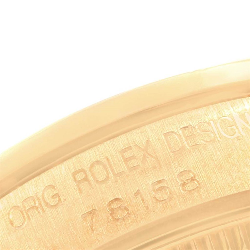 Rolex President Midsize Yellow Gold Diamond Dial Bezel Lugs Watch 78158 SwissWatchExpo