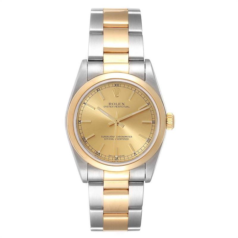 Rolex Midsize 31 Yellow Gold Steel Smooth Bezel Ladies Watch 77483 SwissWatchExpo