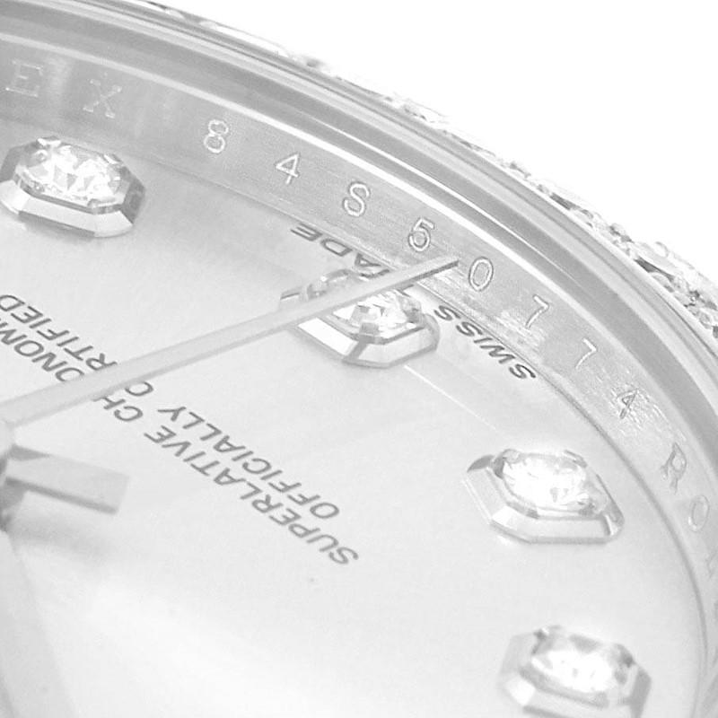 Rolex Datejust Midsize 31 Steel White Gold Diamond Watch 178384 Box Card SwissWatchExpo