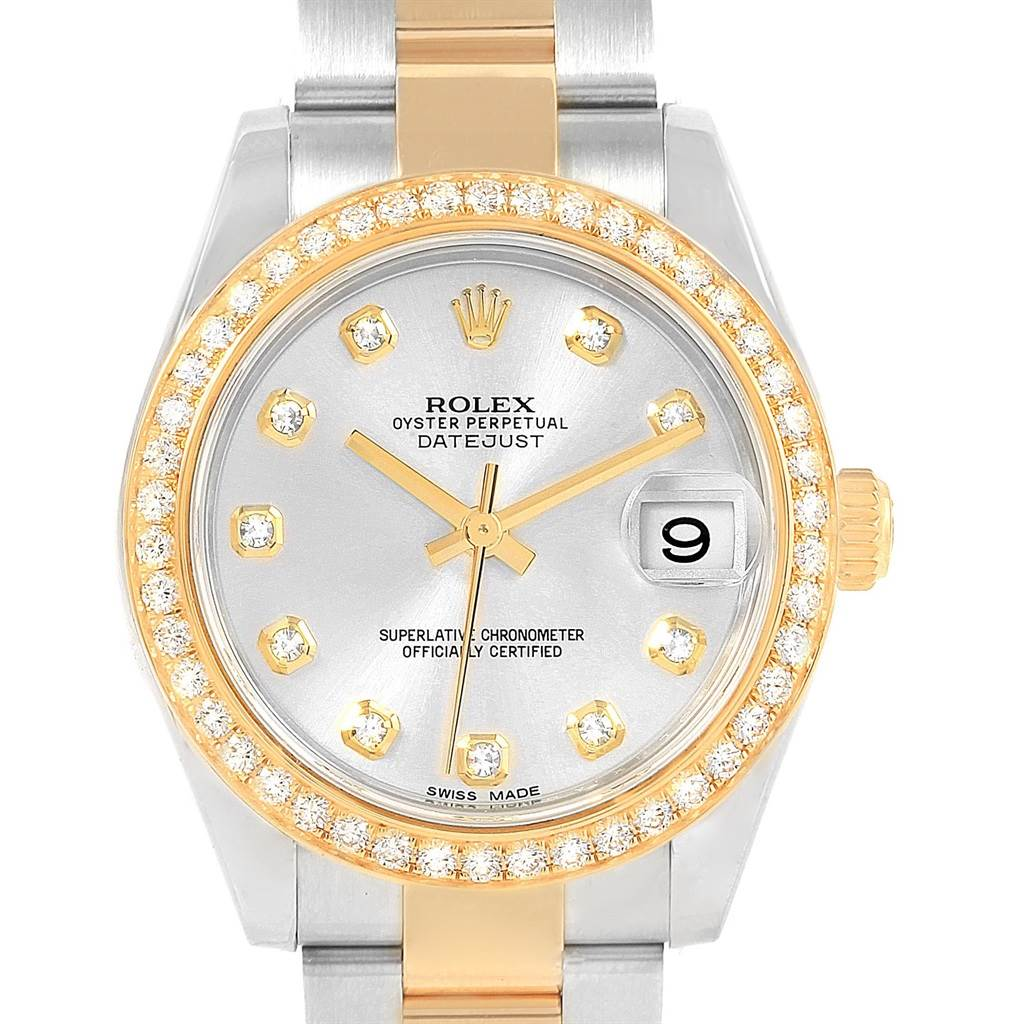 Rolex Datejust 31 Midsize Steel Yellow Gold Diamond Ladies Watch 178383 SwissWatchExpo