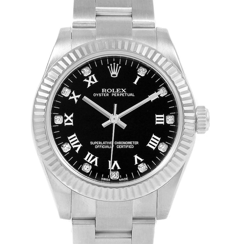 Rolex Oyster Perpetual Midsize Steel Black Diamond Dial Watch 177234 SwissWatchExpo