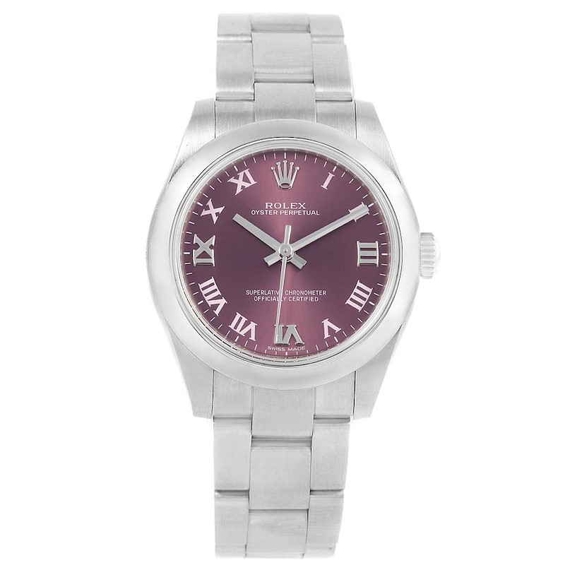 Rolex Oyster Perpetual Midsize 31 Red Grape Dial Ladies Watch 177200 SwissWatchExpo