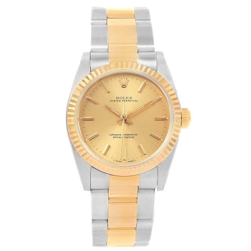 Rolex Midsize 31 Yellow Gold Steel Oyster Bracelet Ladies Watch 67513 SwissWatchExpo