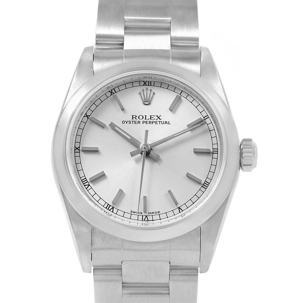 20833 Rolex Midsize Silver Dial Smooth Bezel Steel Ladies Watch 77080 SwissWatchExpo