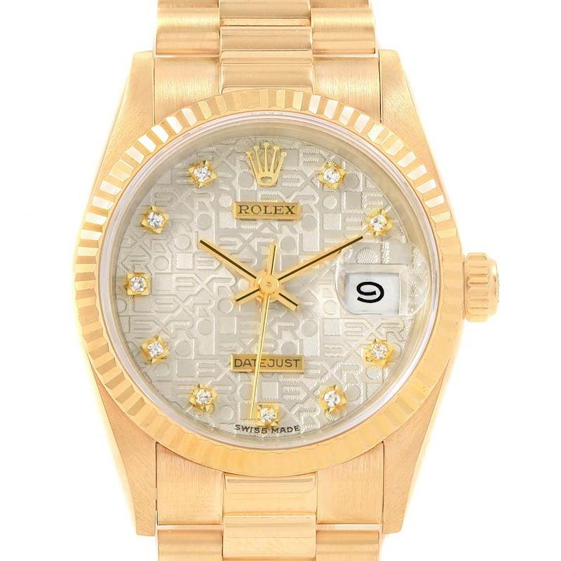 Rolex President Datejust 31 Midsize Gold Diamond Watch 68278 SwissWatchExpo