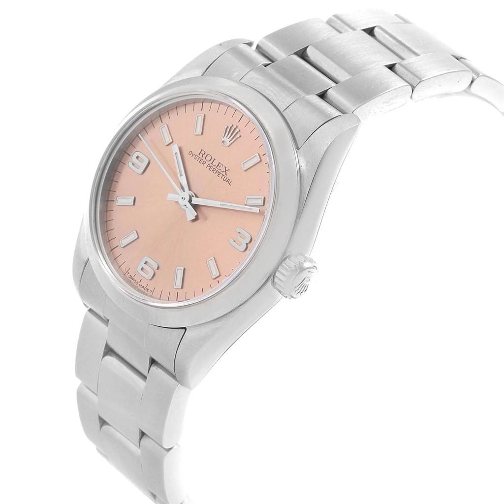 20835 Rolex Midsize 31mm Salmon Dial Automatic Steel Ladies Watch 67480 SwissWatchExpo