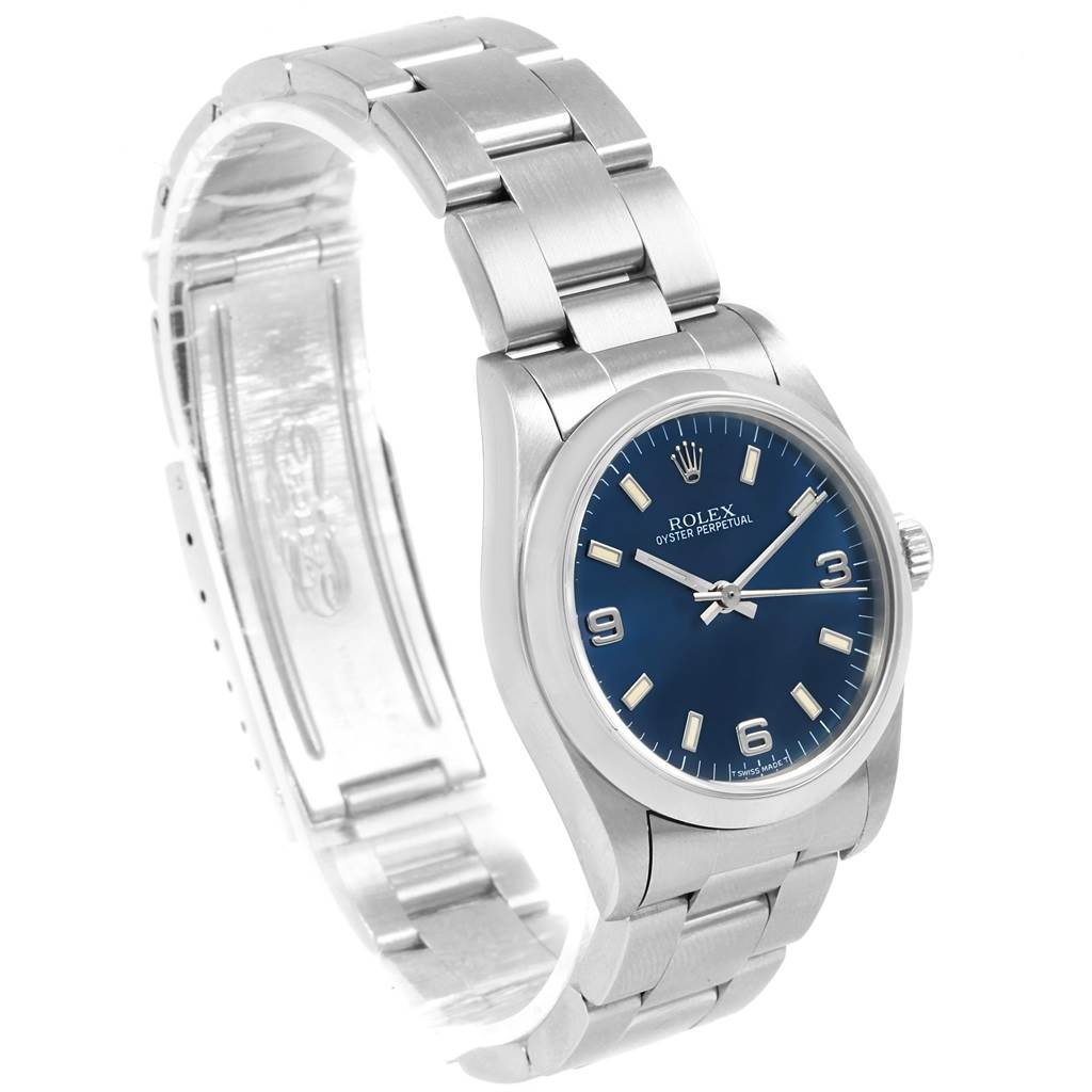 20837 Rolex Midsize 31mm Blue Dial Automatic Steel Ladies Watch 67480 SwissWatchExpo