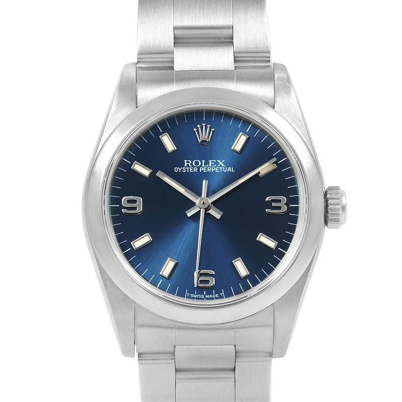 Rolex Midsize 31mm Blue Dial Automatic Steel Ladies Watch 67480 SwissWatchExpo