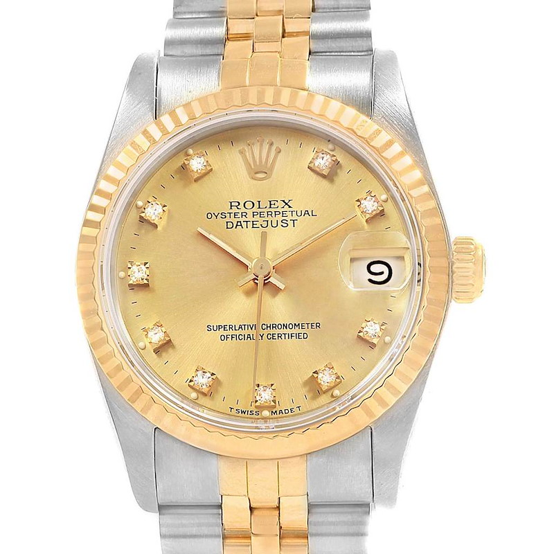 Rolex Datejust Midsize 31 Steel Yellow Gold Ladies Watch 68273 Box SwissWatchExpo