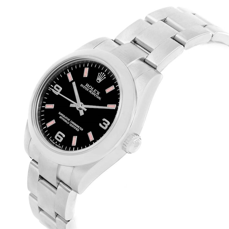 Rolex Midsize Black Dial Pink Hour Markers Ladies Watch 177200 SwissWatchExpo