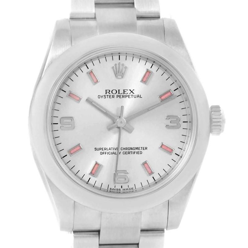 Rolex Midsize 31 Silver Dial Pink Hour Markers Steel Ladies Watch 177200 SwissWatchExpo