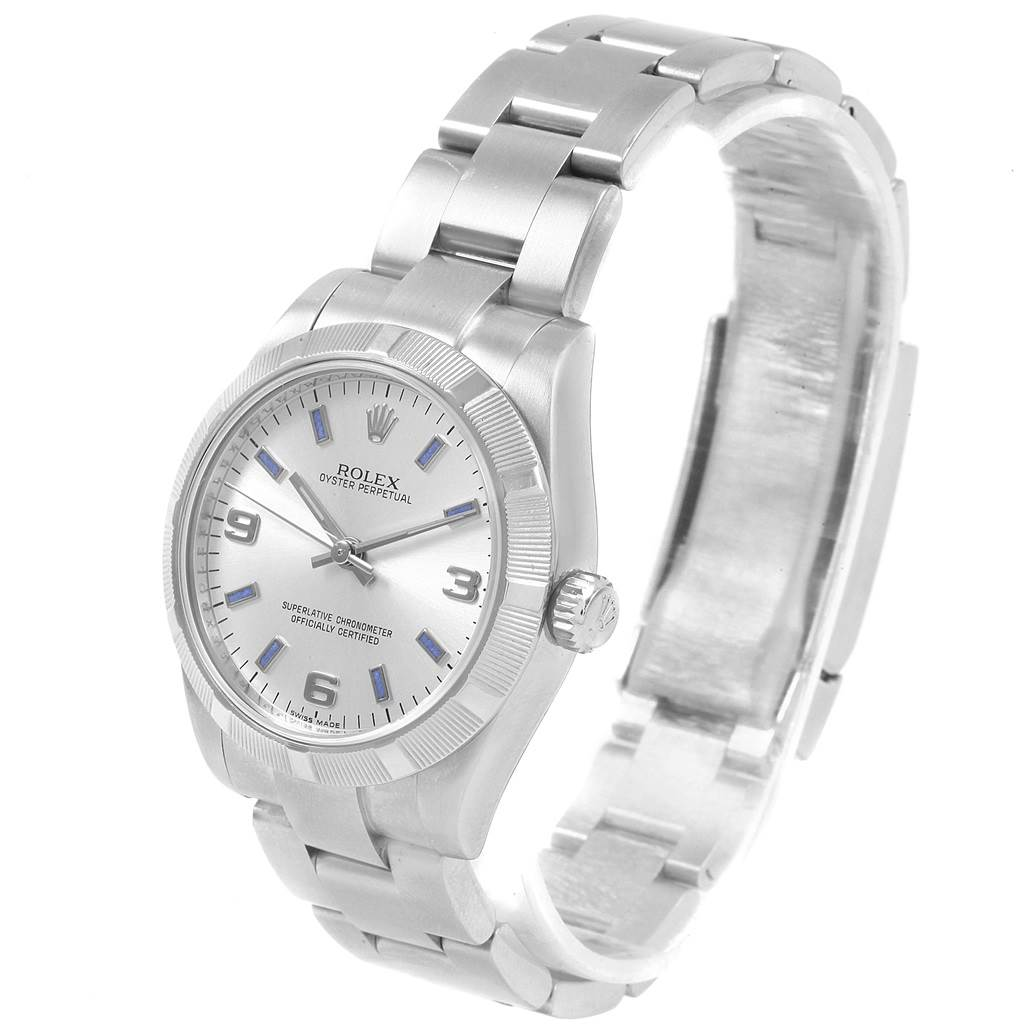 Rolex Midsize 31 Silver Dial Blue Hour Markers Steel Ladies Watch 177210 SwissWatchExpo
